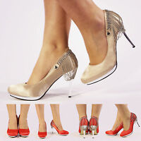 NEW WOMENS LADIES SATIN WEDDING PROM BRIDAL EVENING DIAMANTE CHAINE SHOES SIZE