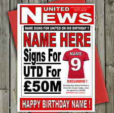 MAN UNITED FOOTBALL FAN 'HEADLINE' Personalised Birthday Card! any name/number!!