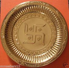 "Set Of 2 Brass 7.5"" Puja Navratri Thali Hindu Swastika Plate Religious Aarti"