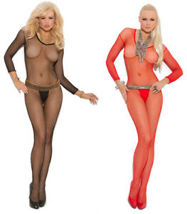 Fishnet Bodystocking Long Sleeves Crotchless Scoop Neck Seamless Sheer 1615
