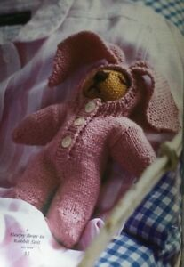 """Knitting Pattern For Sleepy Bear In Rabbit Suit Height 7"""" soft toy animal"""