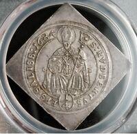 🔥1 Of 1 🔥1684, Salzburg, Maximilian Gandolf. Silver Klippe 1/4 Thaler Coin.