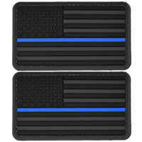 2x US Flag Blue Line Police PVC Patch 3D Tactical Badge Hook #51