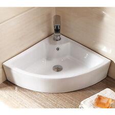 White Ceramic Corner Wall Hung Mounted Basin Sink For Bathroom