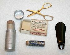 VINTAGE COLD REMEDY KIT TOOTHACHE WAX SCISSORS COLD TABLET BOX AND MORE FLU JR