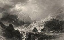 Glen Croe between Loch Long and Cairndow. Scotland. ALLOM c1840 old print