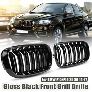Front Kidney Gloss Black Grilles Grill For BMW X5 F15 X6 F16 F85 F86 2015-2017