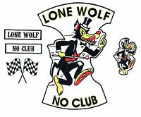 No Club Lone Wolf back patch 5pc set badge rocker hot rod car motorcycle jacket