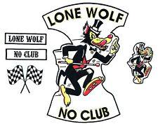No Club Lone Wolf back patch 5pc set badge rocker hot rod car motorcycle jacket