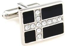 Cross Pair Cufflinks Crystal Pastor Wedding Fancy Gift Box & Polishing Cloth