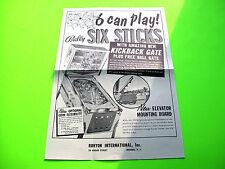 Bally SIX STICKS Original 1966 Flipper Game Pinball Machine Promo Sales Flyer
