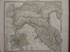 1850 SPRUNER Antica Mappa Storica ~ ITALIA NORD Roma città piano Liguria ETRURIA