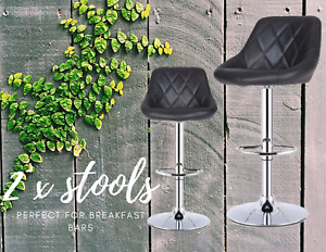 Package of 2 Adjustable Steel Bar Stools for Home Breakfast Bar with Footrests
