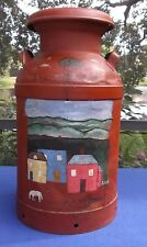 Antique/Vintage BUHL Primitive Hand Painted Farm Yard Scene 10 Gl Dairy Milk Can