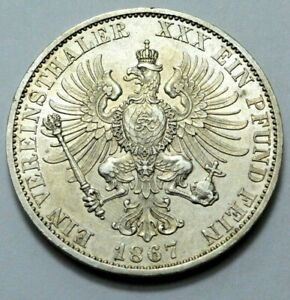 1867A Germany Kingdom of Prussia Silver 1 Vereinsthaler Thaler Wilhelm Rare Coin