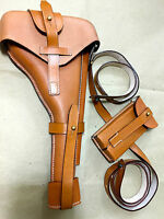 "Luger P-08 8"" Artillery Holster w. Stock Strap & Magazine Pouch - BROWN"
