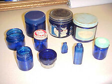 VINTAGE LOT ANTIQUE 10 COBALT BLUE GLASS JARS / BOTTLES~STOPPER~ADVERTISING~OLD~