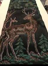 1960s Hanging Deer Stag Fabric Scroll Picture Wall Art Home Decor Painting Weave
