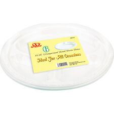 15.2x25.4cm blanc à 3 COMPARTIMENTS PLASTIQUE ROND jetables Barbecue fête