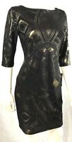 Sangria Formal Cocktail Dress NEW Petite Stretch Lined Gold Metallic NWT SZ 4P
