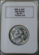 "1936-D San Diego Commemorative Half Dollar ""NGC MS64"" *Free S/H After 1st Item*"