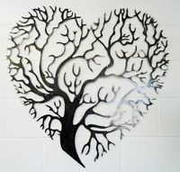 Heart tree wall art, solid mild steel, metal, hand finished, gift, many sizes,