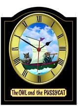 OWL AND PUSSYCAT Pub Sign WALL CLOCK for your Home Bar, Man Cave or Pub Shed