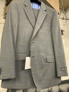 New 46S Men's Grey Blue Check Suit 100% Wool Super 150 Made in Italy Ret/$1295