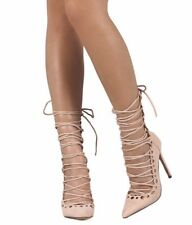 Liliana Nude Suede Pointed Toe Stencil Lace Up Gladiator Pump Heels, Size 7