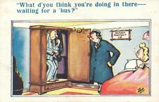 RUDE RISQUE COMIC CRANKY HUSBAND CALLS LOVER OUT of HIDING in CUPBOARD POSTCARD