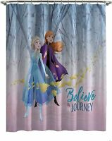 NEW Disney Frozen II Elsa and Anna 72 x 72 Kids Fabric Shower Bathtub Curtain