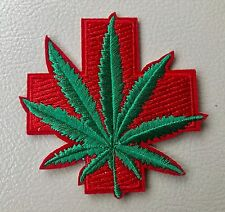Red Cross Medical Marijuana Hemp Plant Leaf Iron-On Patch Cannabis Weed 402