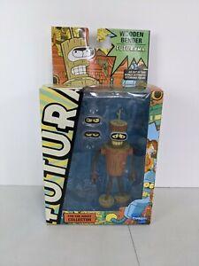 Rare Futurama Wooden Bender Figure Toynami 2010 with Interchangeable Eyes