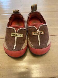 Crocs Infant Toddler Girl's Leather Slip On Shoes Size 6