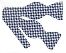 Navy Blue Houndstooth Bow Tie / Navy Blue & White Houndstooth /Self-tie Bow tie
