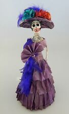 Catrina Mexican Feathers Doll Day of the Dead Paper Mache Folk Art 1609