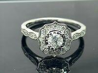 Engagement Ring 0.50ctw Diamond Halo Style 10k White Gold Women's Size 8
