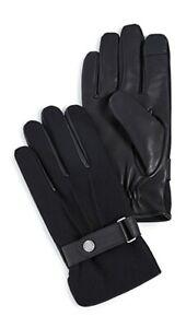 New Polo Ralph Lauren Mens Wool Melton Hybrid Leather Gloves - Large - Black