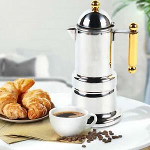 Stainless Steel Coffee Maker Pot 4 Cups Moka Espresso Stovetop Latte Percolator
