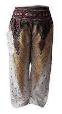 Pantaloni da donna bianchi in cotone a gamba larga
