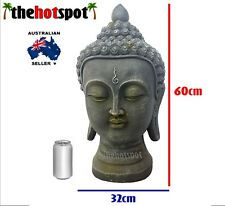 60cm LARGE Buddha Head Statue Garden Bali Mindfulness Meditation Resin Fat Light