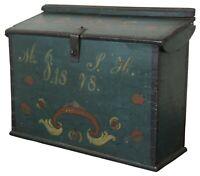 1878 Antique Scandinavian Folk Art Painted Letter Box Mail Polychrome Primitive