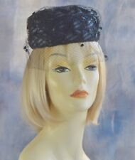 "Vtg Low Pillbox Black Hat w/ Dotted Veil & Ribbons Beret Tam 20-1/4"""