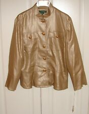 NWT Ralph Lauren sz 8 Kiefer Indian gold metallic linen jacket blazer $250
