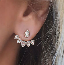 Crystal Stud Earring For Woman Fashion Ear Jacket simulated diamond gold plated