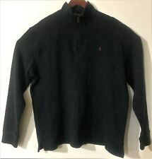 Polo by Ralph Lauren Sweater Men's 1/4 Zip Pullover 100% Cotton Gray Size XL/TG