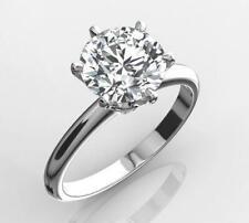 DIAMOND SOLITAIRE ENGAGEMENT RING 1.25 CARAT ROUND CUT F VS2 14K WHITE GOLD