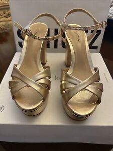 Schutz Platform Sandals Keefa Gold Metallic Leather Heel Size 7B