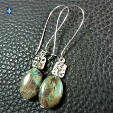♥ Gorgeous Ocean Blue Jasper Stones Plated Silver  Earrings