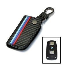 M-Colored Stripe Carbon Fiber Smart Remote Key Fob For BMW 1 3 5 6 Series X5 X6